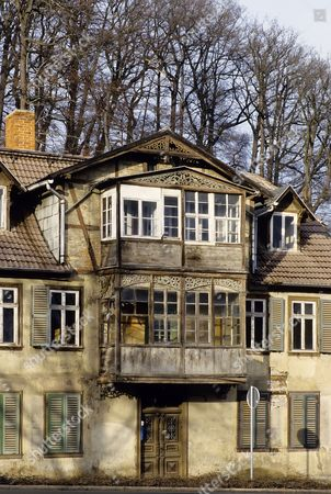 Old House With Wooden Veranda, Unrenovated Condition, Bad Suderode, Harz,  ...