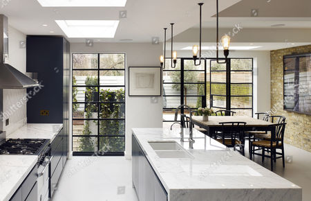 Open Plan Dining And Kitchen Area. North Kensington Home, London, United  Kingdom.